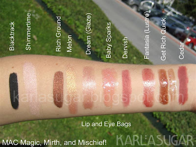 MAC, Magic, Mirth, Mischief, swatches, eye bags, lip bags, Blacktrack, Rich Ground, Shimmertime, Melon, Dream, Baby Sparks, Dervish, Fantasia, Get Rich Quick, Cedar