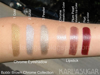 Bobbi Brown, Chrome, swatches, Gold, Silver, Pewter, Plum Pearl, Port