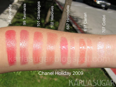 Chanel, holiday, 2009, Collection Cage Doree de Chanel, Golden Cage, swatches, Grenada, Tasmania, Galapagos, Maldives, Hirondelle, Canari, Colibri