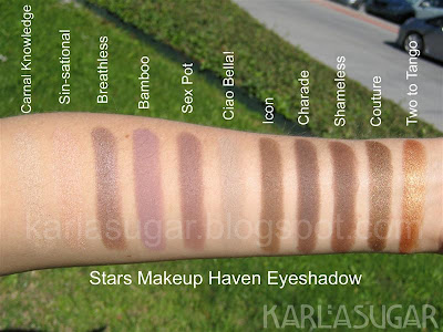 Stars Makeup Haven, SMH, swatches, Carnal Knowledge, Sin-sational, Breathless, Bamboo, Sex Pot, Ciao Bella!, Icon, Charade, Shameless, Couture, Two to Tango