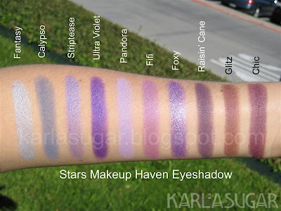 Stars Makeup Haven, SMH, eyeshadow, swatches, Fantasy, Calypso, Striptease, Ultra Violet, Pandora, Fifi, Foxy, Raisin' Cane, Glitz, Chic