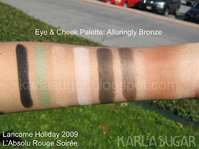 Lancome, holiday, 2009, swatches, eye and cheek palette, Alluringly Bronze, Fabric, Alluring Presence, The New Black, Enticing, Get It Now, Daylight, Mocha Havana