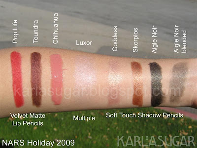 NARS, holiday, 2009, swatches, Pop Life, Toundra, Chihuahua, Luxor, Goddess, Skorpios, Aigle Noir