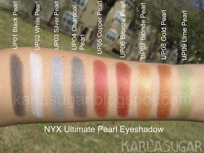 NYX, Ultimate Pearl Eyeshadow, swatches, Black Pearl, White Pearl, Silver Pearl, Charcoal Pearl, Copper Pearl, Bronze Pearl, Blonde Pearl, Gold Pearl, Lime Pearl