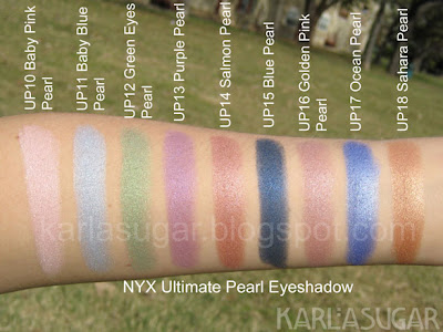 NYX, Ultimate Pearl Eyeshadow, swatches, Baby Pink Pearl, Baby Blue Pearl, Green Eyes Pearl, Purple Pearl, Salmon Pearl, Blue Pearl, Golden Pink Pearl, Ocean Pearl, Sahara Pearl