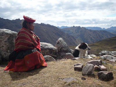 Lady with dog in Peru mountains