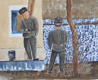 aquarel·la,watercolor,acuarela,roger mora,rmora,soldats,corea del nord, yalu,dandong,frontera