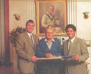 Sachin Tendulkar With The Great Don Bradman and Shane Warne