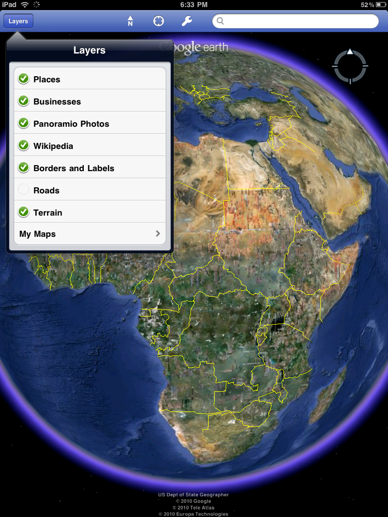 Google earth on the ipad world geography blog now google earth is available in much of its glory on the ipad the layers are the same available from version 2 of the iphone ge app with the addition of gumiabroncs Gallery