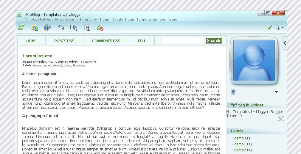 My blogger templates free xml blogger template msnlog for Xml templates for blogger free download