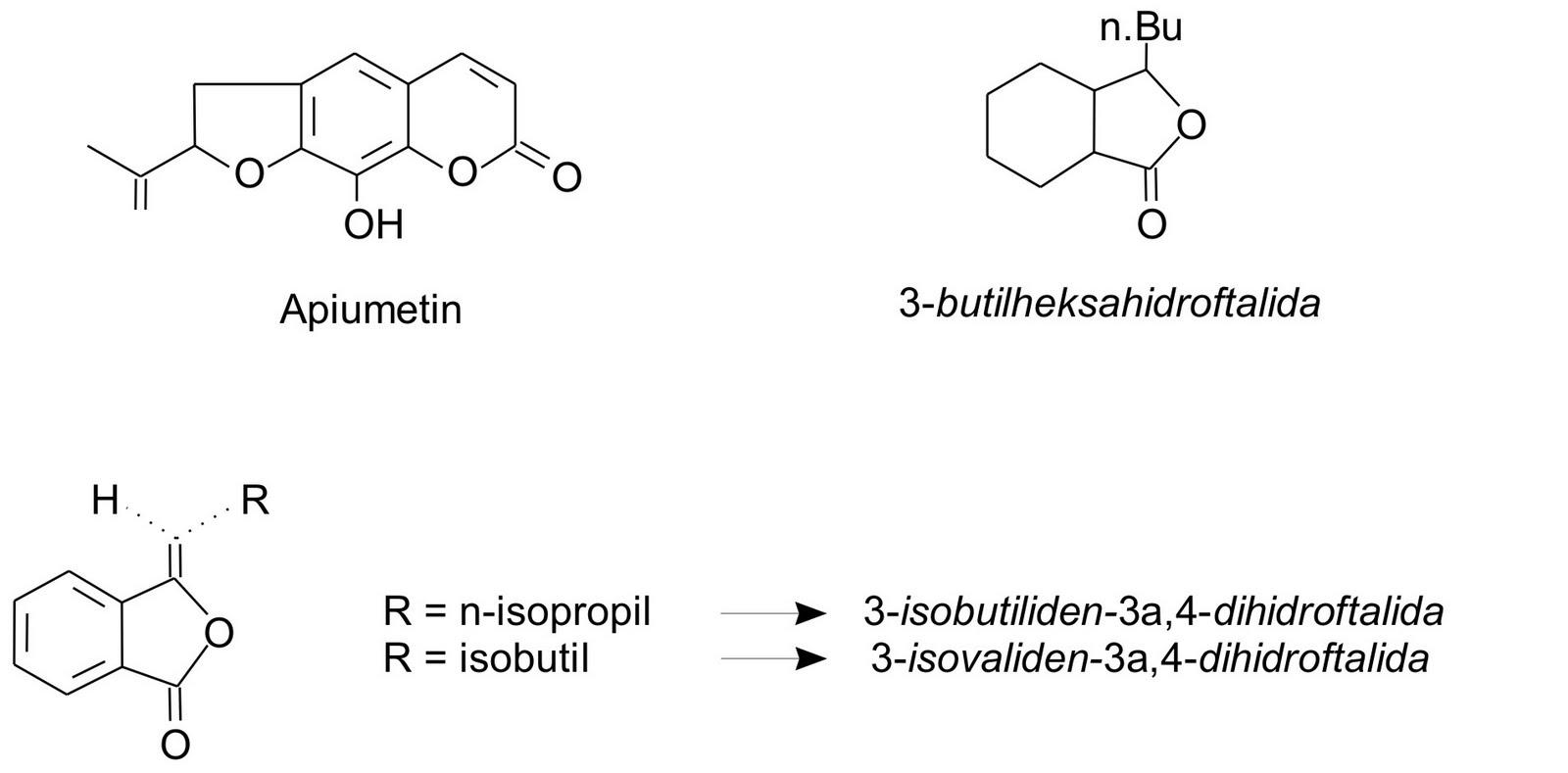 Struktur kimia senyawa yang terkandung dalam seledri - Tanaman Obat Taman Husada