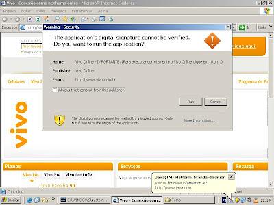 Portal Vivo - applet malicioso