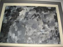 Quadro preto e branco à óleo, pintado por Filipe
