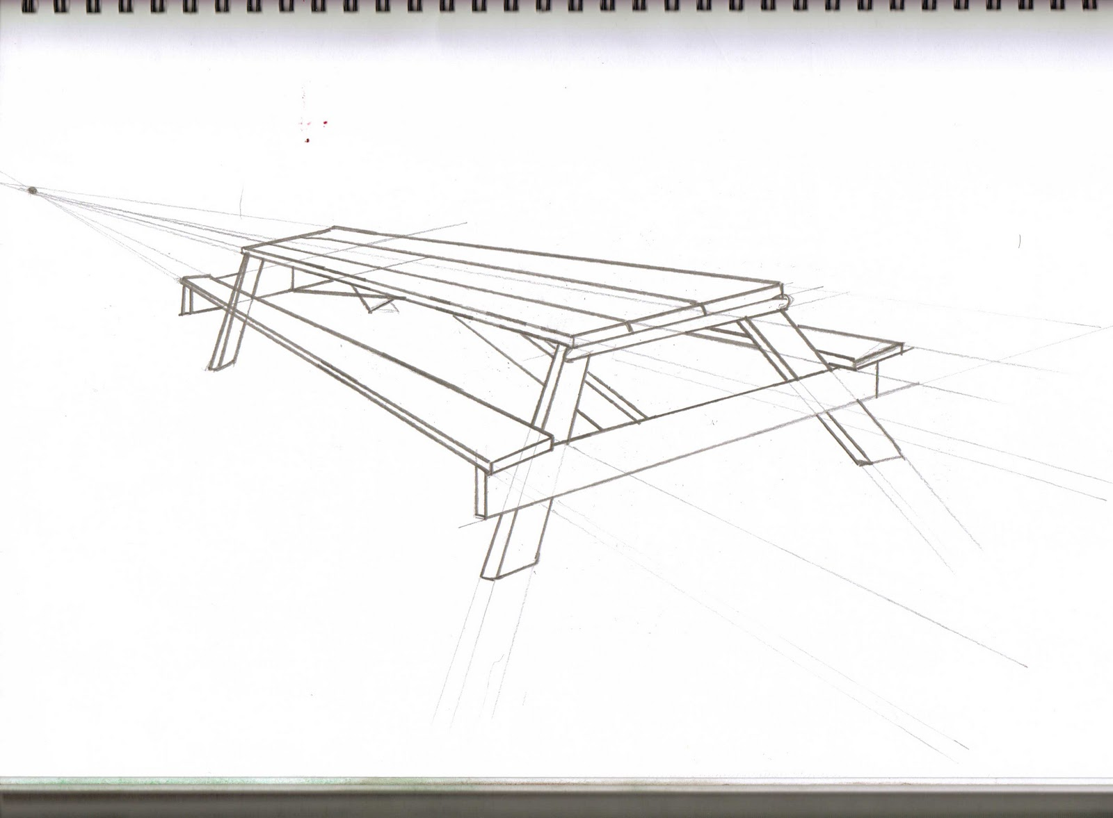 Drawing and visualisation more perspective for Table design sketch