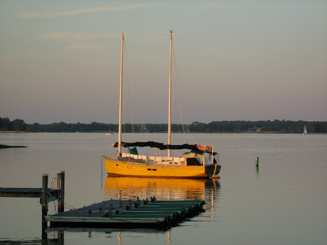 At anchor in St Michaels, Maryland.