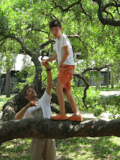 """Therapy "" for Nicolas. Climbing on the Treaty Live Oak in Jacksonville, Fl.k"