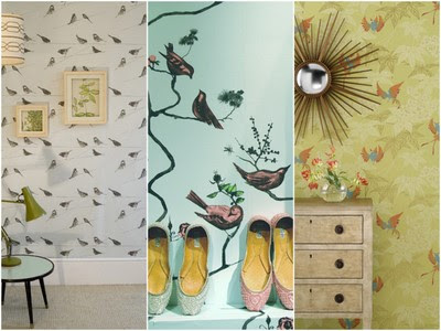 Above, left to right: Garden Birds and Pavilion Birds, both by Louise Body;
