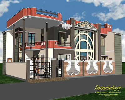 Front Elevation for the residence of Mr. K.C. Varma at Pehowa ...