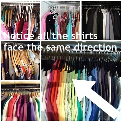 Shirts all facing one direction