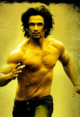 Shirtless Shahid is running