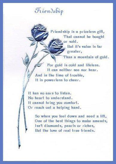 Friendship in english poem on The 32