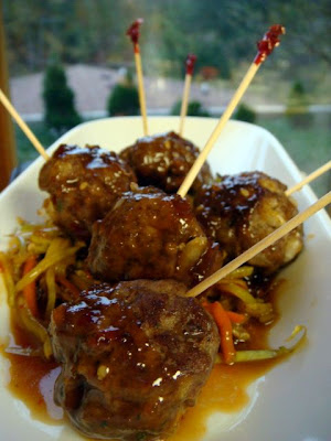 Sweet n Spicy Asian Style Meatballs with Warm Asian Slaw