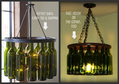 Decor blog links pottery barn wine bottle chandelier knockoff for How to make your own wine bottle chandelier