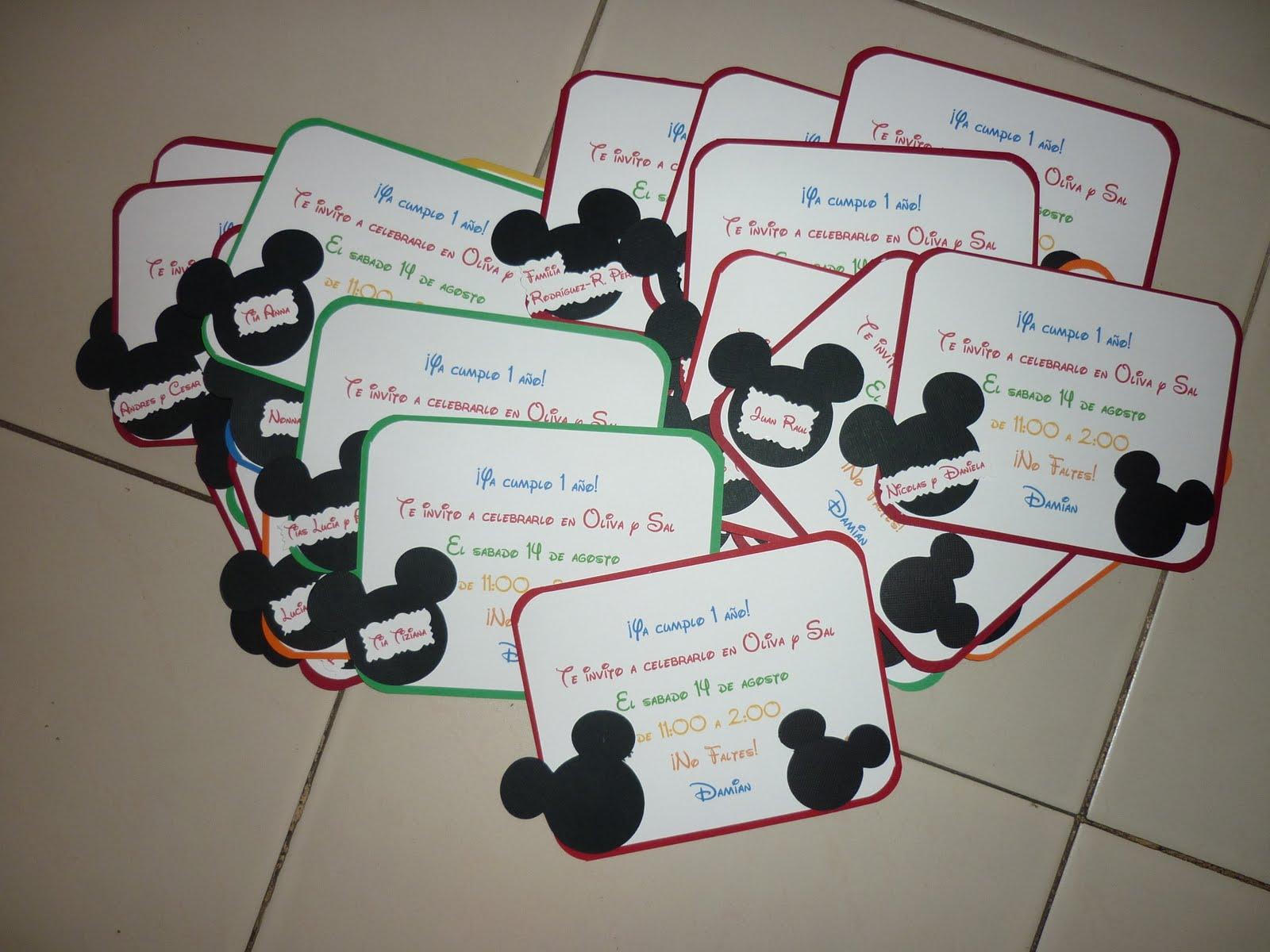 MEMORIAS EN PAPEL: Tarjetas de Mickey Mouse para cumpleaños