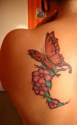 Butterfly  Flower Tattoos on Flower And Butterfly Tattoos Japanese Tattoo