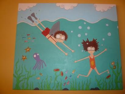 Pintura en acrilico, niños buceando