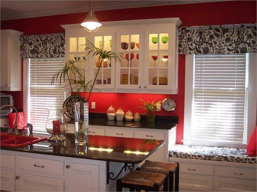 This joyful life dreaming of decorating and more kitchen for Grey kitchen cabinets with red walls
