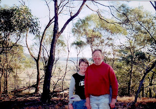 In October 2003 We went back to the farm for the first time since 1962 as the current owners have a couple of Farm-Stay cottages on one of the front paddocks. Here Baz and I are up on the hill reliving cowboys'n'indians escapades.