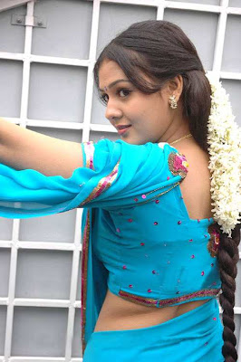 tollywood jyothi krishna in blue saree latest photos