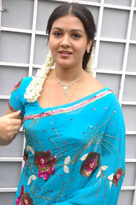 tollywood jyothi krishna in blue saree glamour  images