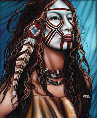 Native American Face Paint Female http://www.thenativeamericantaoist.com/2009/03/war-paint-face-paint.html