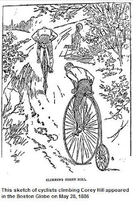 Illustration: Cyclists climb Corey Hill, Boston Globe, May 28, 1886