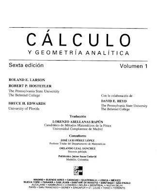 Cálculo y Geometría Analítica. Volumen 1 por Roland Larson y Robert Hostetler