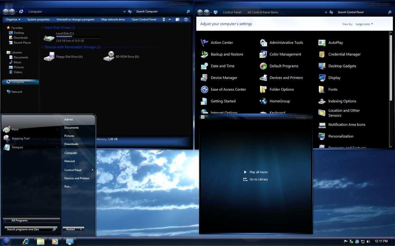 Windows 7 Theme - Blue...