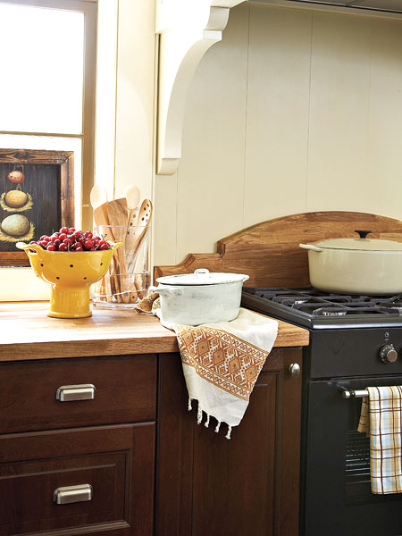 an by ikea is a carved wood backsplash that coordinates with the wood