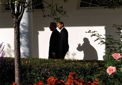 Bush and Obama in the Rose Garden