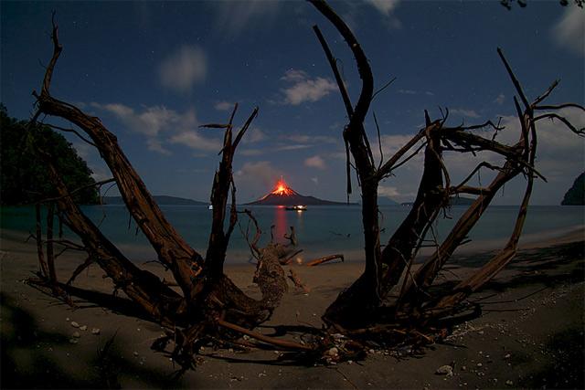 Anak Krakatau Erupting Stars Above