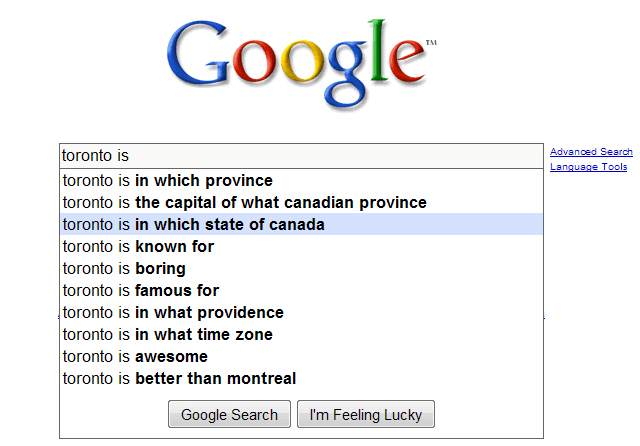 Googling Toronto