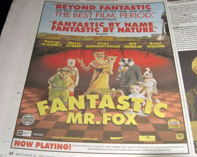 Newspaper Ad Mr Fantastic Fox