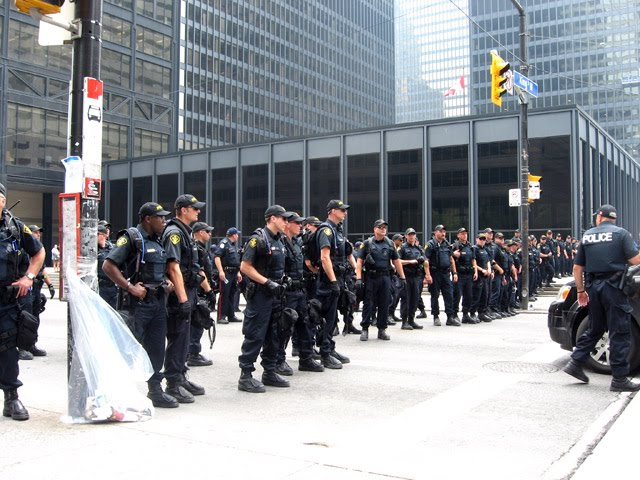 G20 Toronto St. James Protesters Police Wall