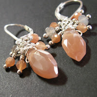 earrings sterling silver peach moonstone gray