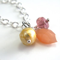 handcrafted jewelry necklace pink tourmaline peach moonstone yellow pearl sterling silver