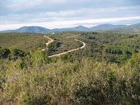 En primer terme el Turó de l'Argilaga a l'esquerra, entre les dues pistes el Turó de Cal Bord i al fons el Montagut vistos des de la Muntanya Cremada de la Font de Maiol