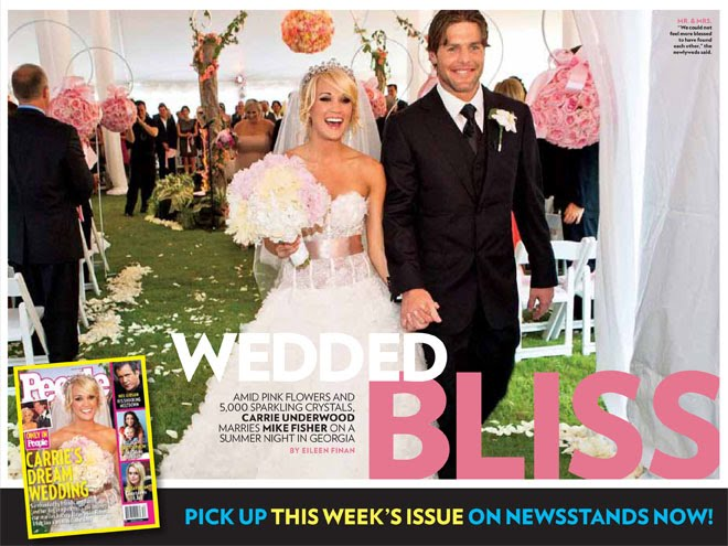 to come out showing the beautiful Carrie Underwood wedding dress.