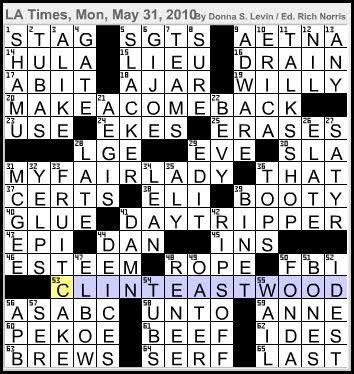 L.A.Times Crossword Co... Renee Zellweger Crossword
