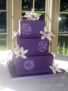 Purple Wedding Cake with Cymbidium Orchids
